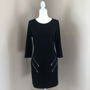 Express Black Dress with Zipper Accents